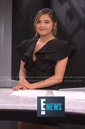 Erin's black ruffle sleeve mini dress on E! News