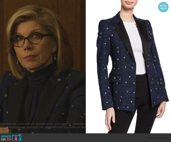 Night Sky Jacquard Jacket by Escada worn by Diane Lockhart (Christine Baranski) on The Good Fight