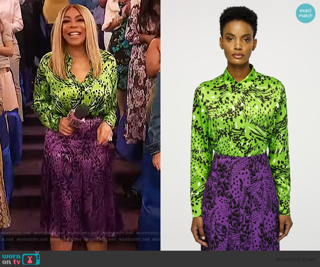 Printed Silk Blouse and printed skirt by Escada worn by Wendy Williams  on The Wendy Williams Show