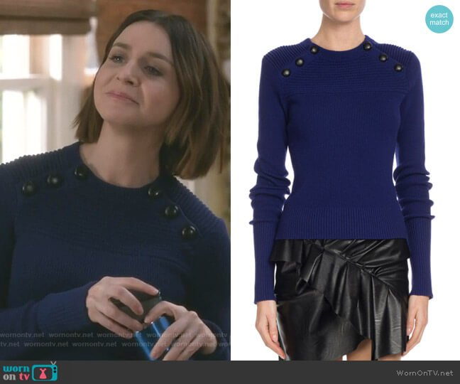 Wornontv Amelias Blue Button Detail Sweater On Greys