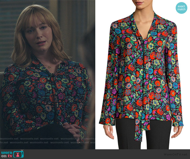Fluorescent Floral Tie Neck Blouse by Etro worn by Beth Boland (Christina Hendricks) on Good Girls
