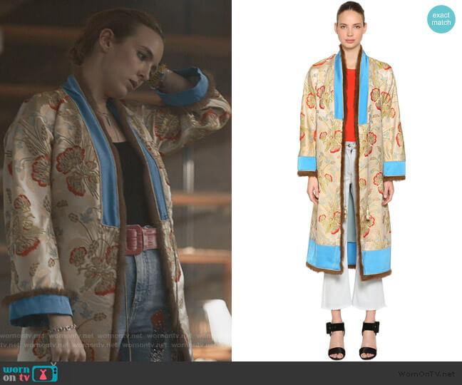 Jacquard Kimono Coat by Etro worn by Villanelle (Jodie Comer) on Killing Eve