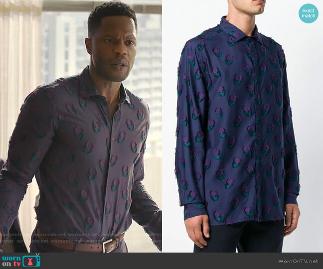 Floral Pattern Shirt by Etro worn by Jeff Colby (Sam Adegoke) on Dynasty