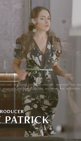 Fallon's black floral peplum dress on Dynasty