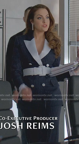 Fallon's navy pinstriped suit on Dynasty