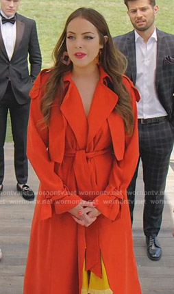 Fallon's red trench wrap coat on Dynasty