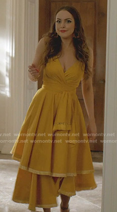 Fallon's yellow fringed tiered dress on Dynasty