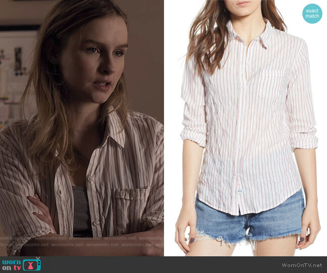 Farrah Stripe Shirt by Rails worn by Elle (Olivia DeJone) on The Society