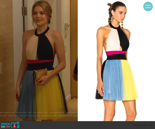 Color Block Halter Top Tulle Dress by Fausto Puglisi worn by Sutton (Meghann Fahy) on The Bold Type