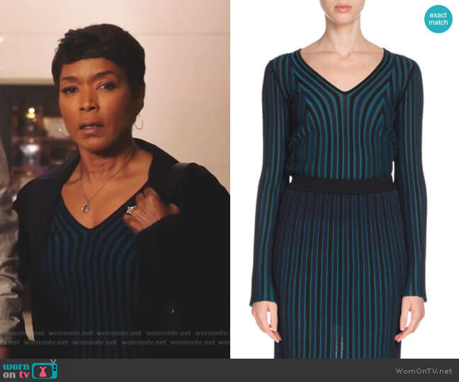 Fitted Long-Sleeve V-Neck Sweater by Kenzo worn by Athena Grant (Angela Bassett) on 9-1-1
