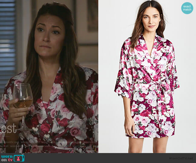 Alejandra Floral Robe by Flora Nikrooz worn by Colleen Brandon-Ortega (Angelique Cabral) on Life in Pieces