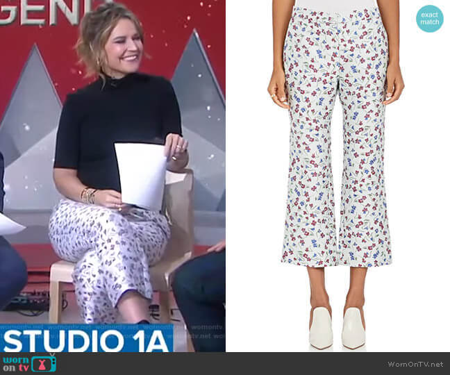 Floral-Jacquard Flared Crop Pants by Altuzarra worn by Savannah Guthrie  on Today