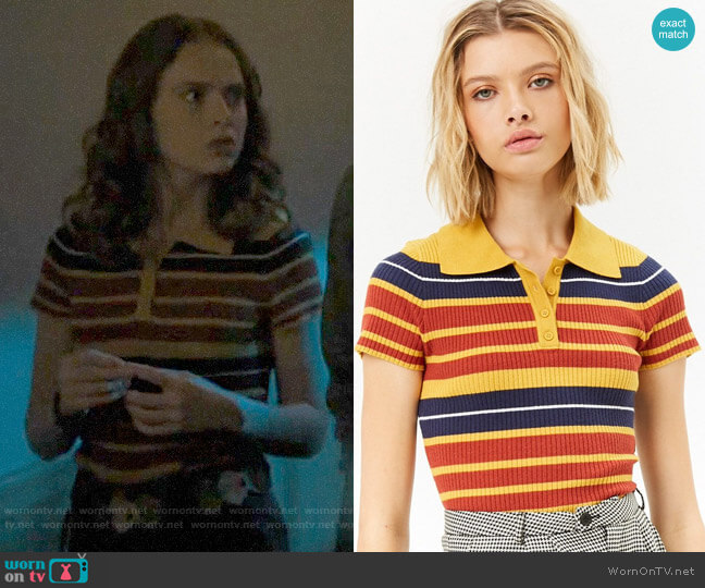 Forever 21 Striped Ribbed Polo worn by Evelyn on Riverdale