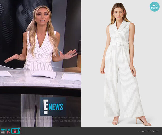 Farrah Petite Stripe Tux Jumpsuit by Forever New worn by Giuliana Rancic (Giuliana Rancic) on E! News