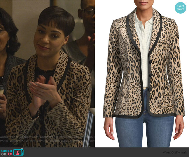 Leopard-Print Velvet Jacket by Frame worn by Lucca Quinn (Cush Jumbo) on The Good Fight