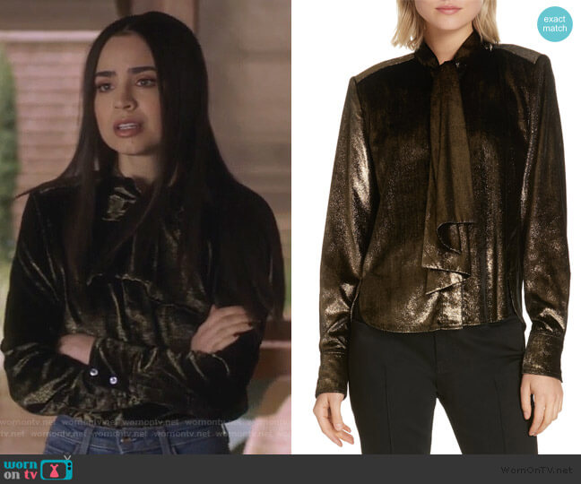 Tie Neck Metallic Velvet Top by Frame Denim worn by Ava Jalali (Sofia Carson) on PLL The Perfectionists