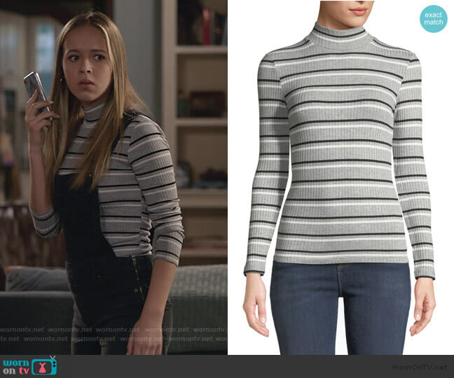 Striped Rib-Knit Mock-Turtleneck Top by Frame worn by Samantha Hughes (Holly Barrett) on Life in Pieces