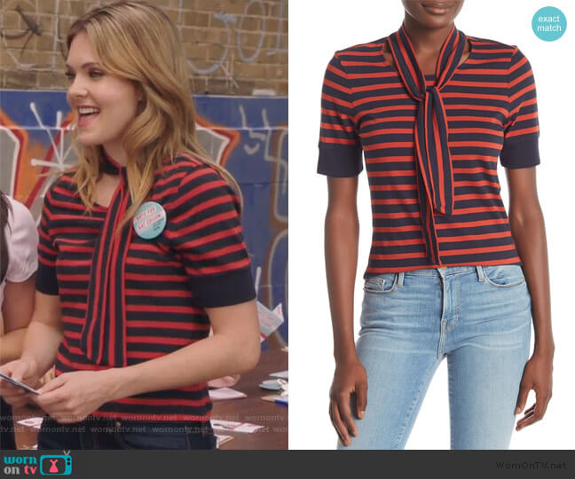 Striped Tie Neck Tee by Frame Denim worn by Sutton (Meghann Fahy) on The Bold Type