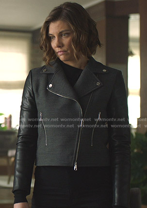 Frankie's grey moto jacket with leather sleeves on Whiskey Cavalier