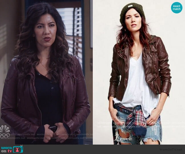 Free People Vegan Leather Hooded Motorcycle Jacket worn by Rosa on Brooklyn Nine-Nine