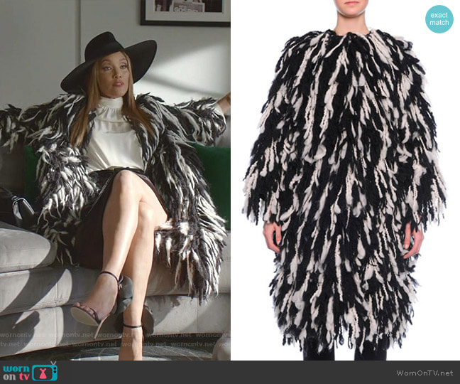 Fringe Shaggy Wool-Blend Coat by Dolce & Gabbana worn by Dominique Deveraux (Michael Michele) on Dynasty
