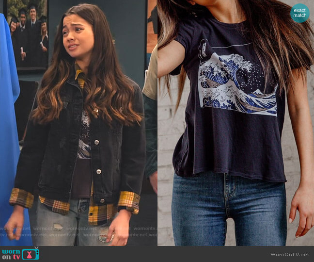 Wave Tee by Future State worn by Nick (Siena Agudong) on No Good Nick