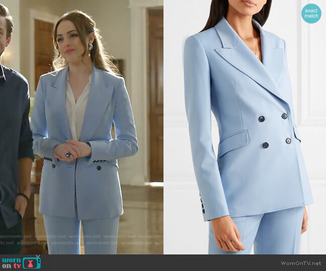 Angela Blazer by Gabriela Hearst worn by Fallon Carrington (Elizabeth Gillies) on Dynasty