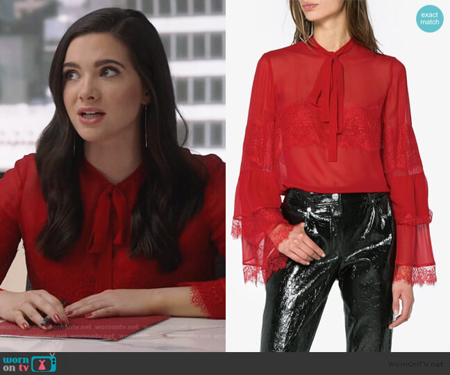 Silk Lace Blouse by Giambattista Valli worn by Jane Sloan (Katie Stevens) on The Bold Type