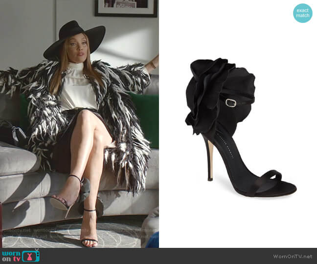 Blooming Flower Ankle Strap Sandal by Giuseppe Zanotti worn by Dominique Deveraux (Michael Michele) on Dynasty