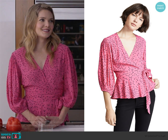 Barra Blouse by Ganni worn by Sutton (Meghann Fahy) on The Bold Type