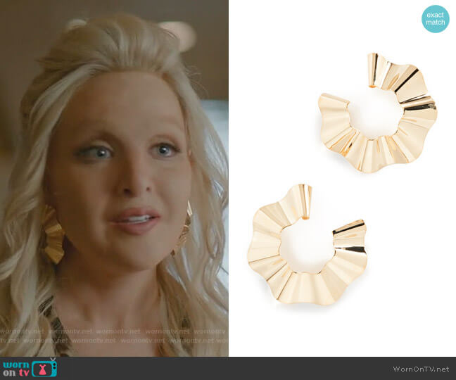 Large Ravioli Earrings by Gaviria worn by Alexis Carrington (Nicollette Sheridan) on Dynasty