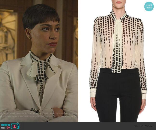 Polka dot-print pussy-bow silk blouse by Giambattista Valli worn by Lucca Quinn (Cush Jumbo) on The Good Fight