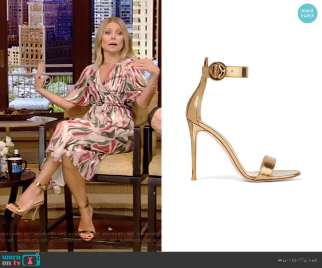 Portofino Metallic Leather Sandals by Gianvito Rossi worn by Kelly Ripa (Kelly Ripa) on Live with Kelly & Ryan