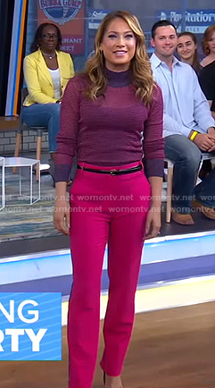 Ginger's purple striped sweater and pink pants on Good Morning America