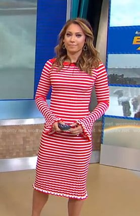 Ginger's white and red striped knit dress on Good Morning America