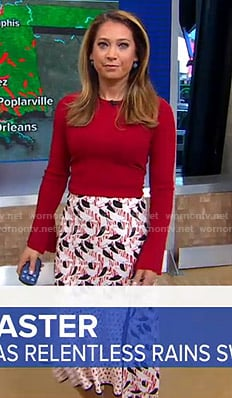 Ginger's red sweater and printed skirt on Good Morning America