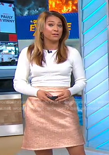 Ginger's white ribbed top and metallic skirt on Good Morning America