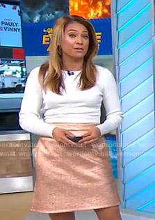 Ginger's white ribbed top and metallic skirt on Good Morning America