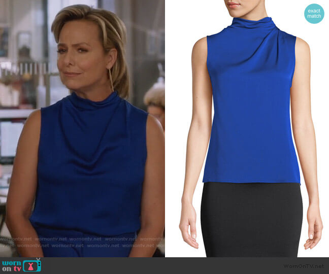 Funnel-Neck Sleeveless Silk Blouse by Giorgio Armani worn by Jacqueline (Melora Hardin) on The Bold Type