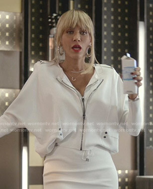 Giselle's white double-zip jacket on Empire