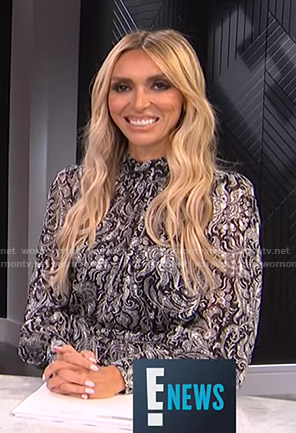 Giuliana's black paisley print dress on E! News