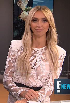 Giuliana's white lace mini dress on E! News