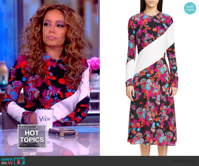 Silk-trimmed floral-print crepe midi dress by Givenchy worn by Sunny Hostin  on The View