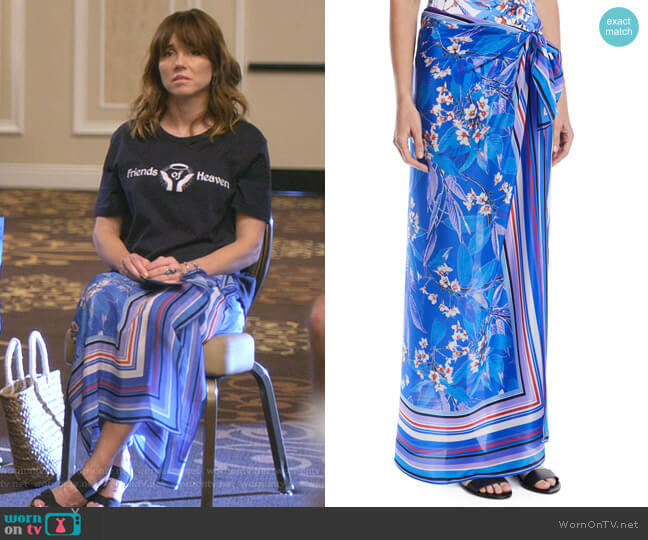 Sakura Floral Silk Coverup Pareo by Gottex worn by Judy Hale (Linda Cardellini) on Dead to Me