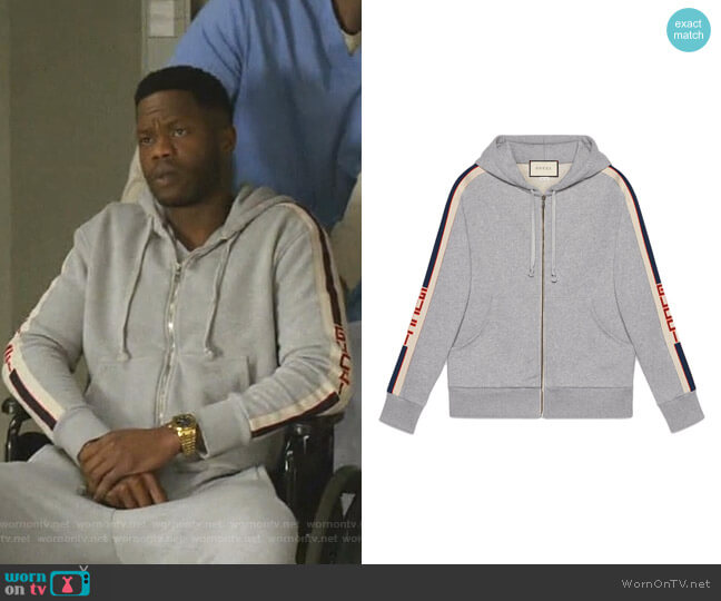 Hooded Zip-Up Sweatshirt with Gucci Stripe by Gucci worn by Jeff Colby (Sam Adegoke) on Dynasty