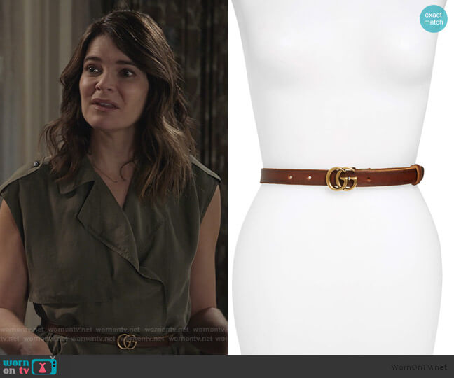 Leather Belt by Gucci worn by Heather Hughes (Betsy Brandt) on Life in Pieces