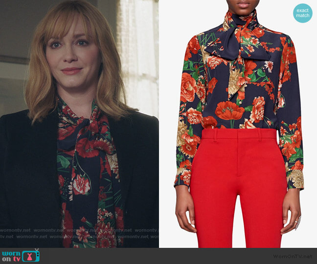 Spring Bouquet Silk Shirt by Gucci worn by Beth Boland (Christina Hendricks) on Good Girls