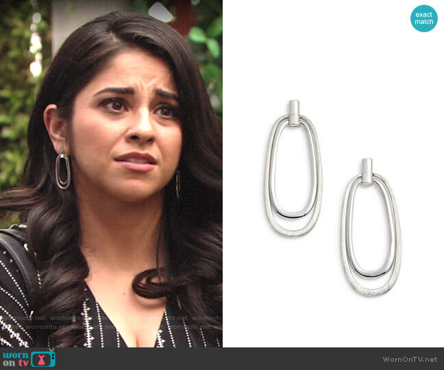 Halogen Oval Drop Earrings worn by Mia Rosales (Noemi Gonzalez) on The Young & the Restless