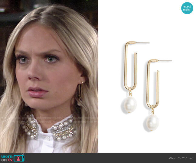 Halogen Pearl Geo Hoop Drop Earrings worn by Abby Newman (Melissa Ordway) on The Young & the Restless