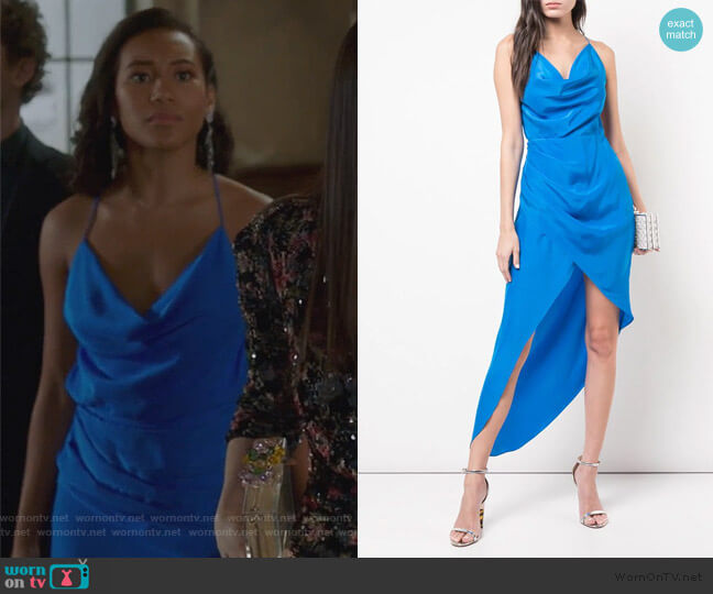 Holly asymmetric dress by Haney worn by Caitlin Martell-Lewis (Sydney Park) on PLL The Perfectionists